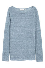Long-sleeved linen top - Blue marl - Ladies | H&M 2