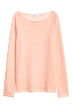 Long-sleeved linen top - Powder pink marl - Ladies | H&M CN 2