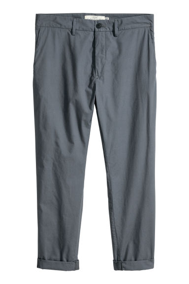Cotton chinos - Dark grey-blue - Men | H&M