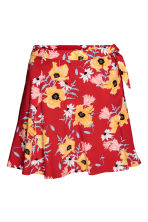 Wrapover skirt - Red/Floral - Ladies | H&M 2