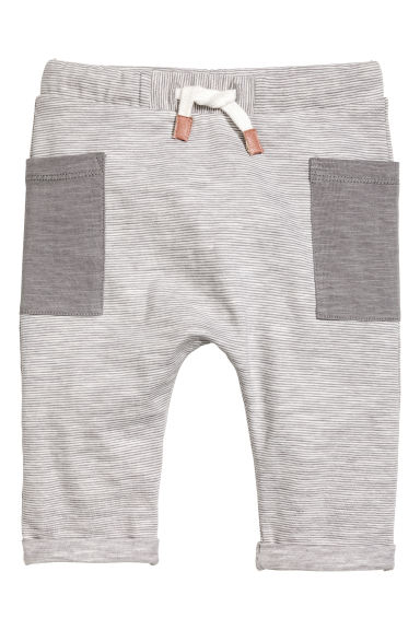 Jersey trousers - Grey/Fine stripe -  | H&M CN 1