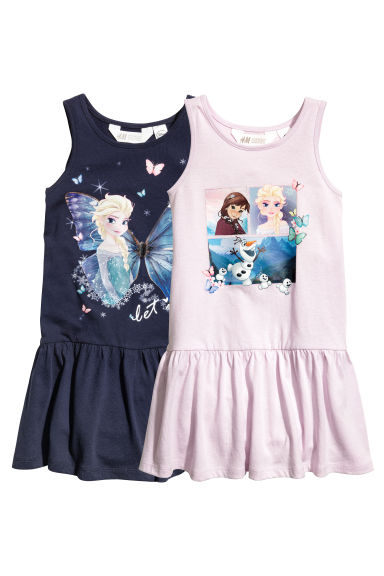 2-pack jersey dresses - Dark blue/Frozen - Kids | H&M