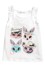 Sleeveless top - White/Animal - Kids | H&M 2