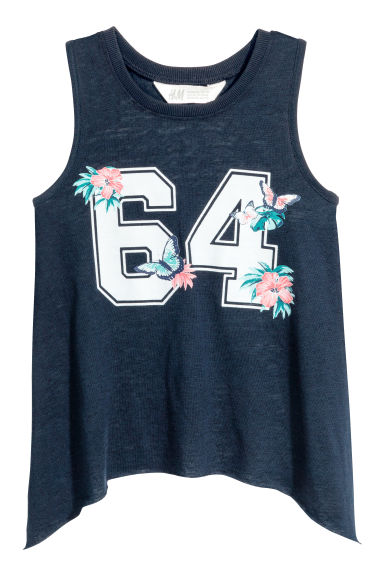 Slub jersey top - Dark blue - Kids | H&M CN 1