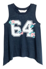 Slub jersey top - Dark blue - Kids | H&M 1