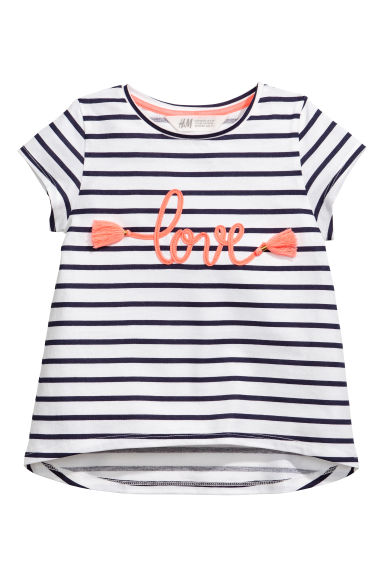 Printed top - White/Black striped -  | H&M 1