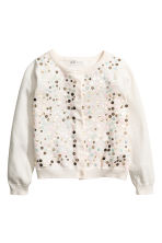 Cardigan with sequins - Natural white/Gold - Kids | H&M CN 2