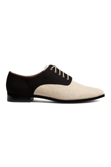 Canvas Oxford shoes - Black/Light beige - Ladies | H&M 1