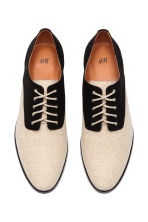 Canvas Oxford shoes - Black/Light beige - Ladies | H&M 2