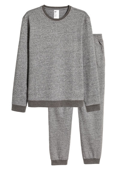 Sweatshirt pyjamas - Dark grey marl - Men | H&M 1