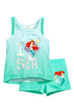 汗布背心和短裤 - Mint green/The Little Mermaid - 儿童 | H&M CN 1