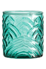 Glass tealight holder - Petrol green - Home All | H&M CN 1