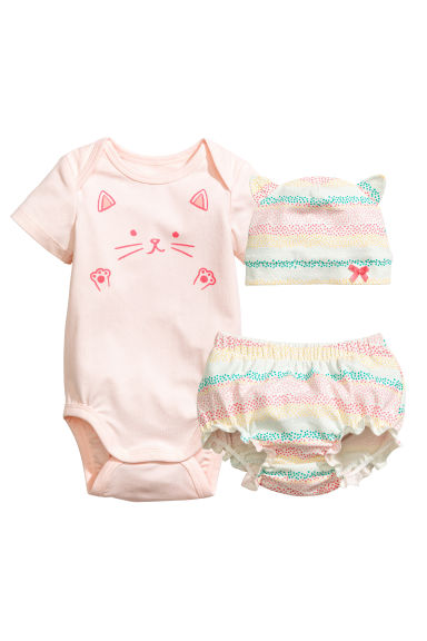 3-piece jersey set - Powder pink/Cat - Kids | H&M