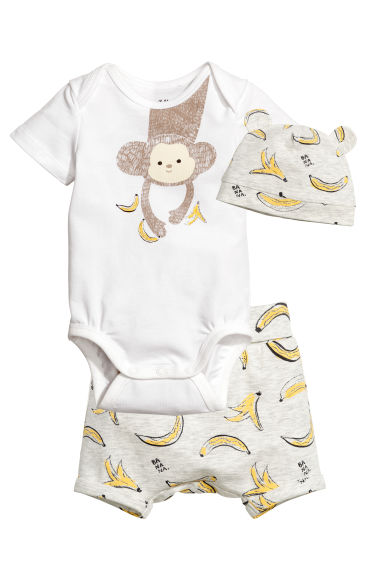 3-piece jersey set - White/Ape - Kids | H&M 1