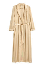 Long satin coat - Beige - Ladies | H&M CN 2