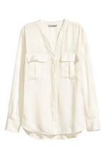 V-neck blouse - Natural white - Ladies | H&M CN 2