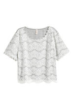 Jersey top with lace - Grey marl - Ladies | H&M CN 2