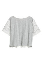 Jersey top with lace - Grey marl - Ladies | H&M CN 3