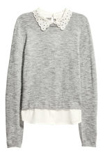 Fine-knit jumper with a collar - Grey marl - Ladies | H&M CN 2