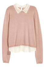 Fine-knit jumper with a collar - Powder pink - Ladies | H&M CN 2