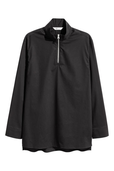 Zip-front cotton shirt - Black - Men | H&M 1