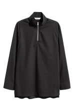 Zip-front cotton shirt - Black - Men | H&M CN 1