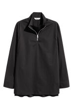 Zip-front cotton shirt - Black - Men | H&M CN 2