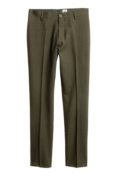 Wool suit trousers - Dark khaki green - Men | H&M CA