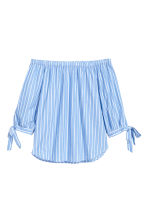 Off-the-shoulder blouse - Light blue/Striped - Ladies | H&M CN 2