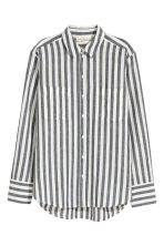Linen-blend shirt - Dark blue/Striped - Ladies | H&M 2