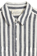 Linen-blend shirt - Dark blue/Striped - Ladies | H&M 3