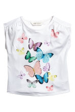 Printed jersey top - White/Butterflies -  | H&M 1