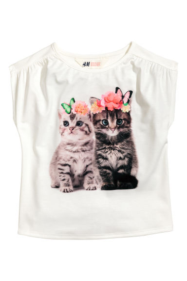 Printed jersey top - White/Cats -  | H&M 1