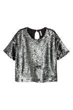 Sequined top - Dark grey - Ladies | H&M 2