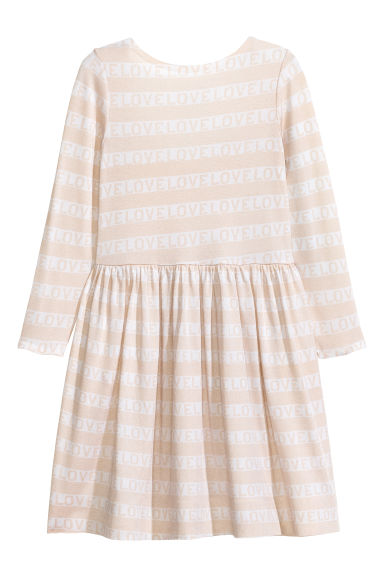 Printed jersey dress - Powder pink/Striped - Kids | H&M CN 1