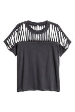 Ripped jersey top - Black - Ladies | H&M CN 2