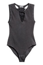 Ripped jersey body - Black - Ladies | H&M 2