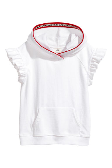 Butterfly-sleeved hooded top - White -  | H&M 1
