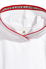 Butterfly-sleeved hooded top - White -  | H&M 2