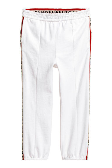 Joggers with side stripes - White -  | H&M CA 1