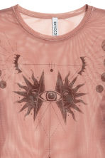 Mesh top with a motif - Vintage pink - Ladies | H&M 2