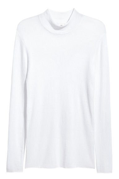Ribbed turtleneck jumper - White - Men | H&M 1