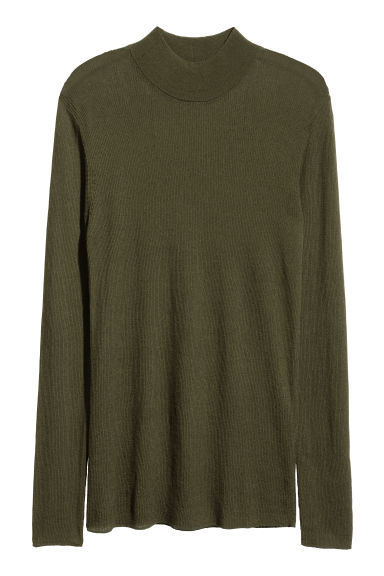 Ribbed turtleneck jumper - Dark khaki green - Men | H&M 1
