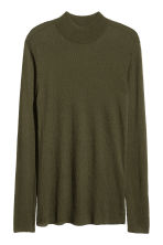 Ribbed turtleneck jumper - Dark khaki green - Men | H&M CN 1