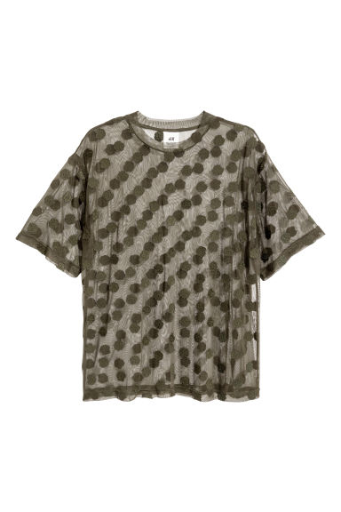 Mesh T-shirt - Dark khaki green - Men | H&M CN