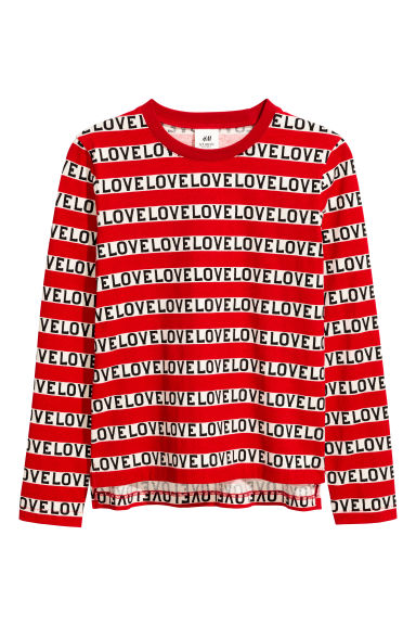 Long-sleeved T-shirt - Red/Text - Kids | H&M CN 1