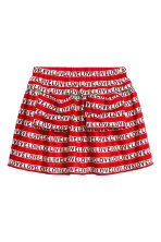 Patterned cotton skirt - Red/Text -  | H&M CA 1