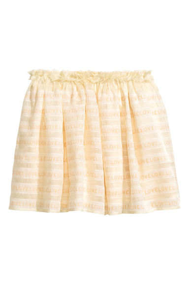 Linen-blend skirt - Natural white -  | H&M CN 1