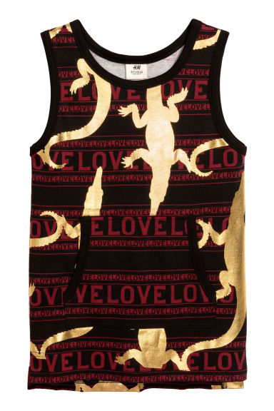 Patterned vest top - Black/Gold - Kids | H&M CN 1