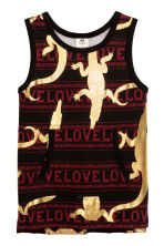 Patterned vest top - Black/Gold - Kids | H&M 1